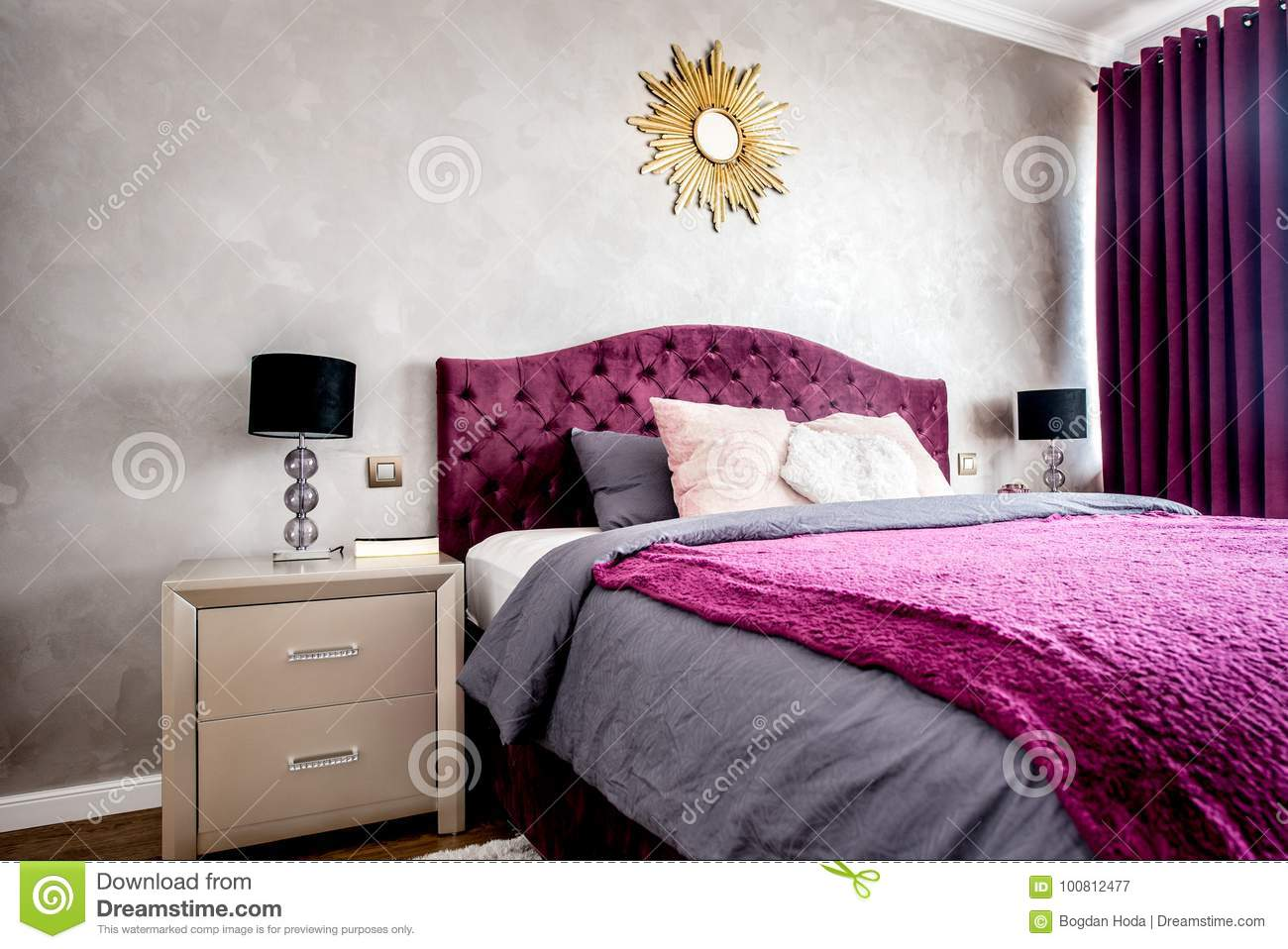 Purple Beautiful Cozy And Stylish Bedroom With Drapes And