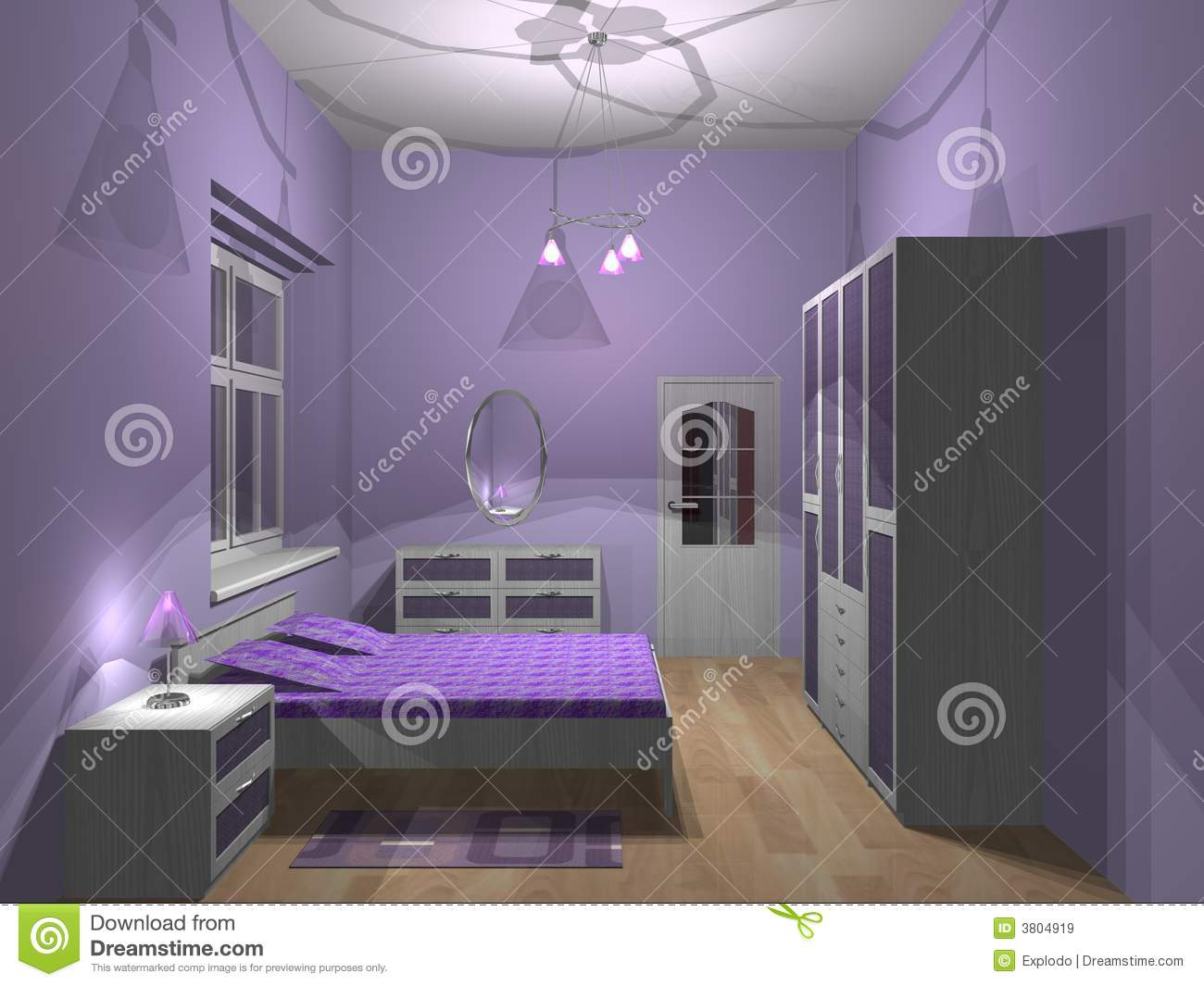 Purple Bedroom Royalty Free Stock Images - Image: 3804919