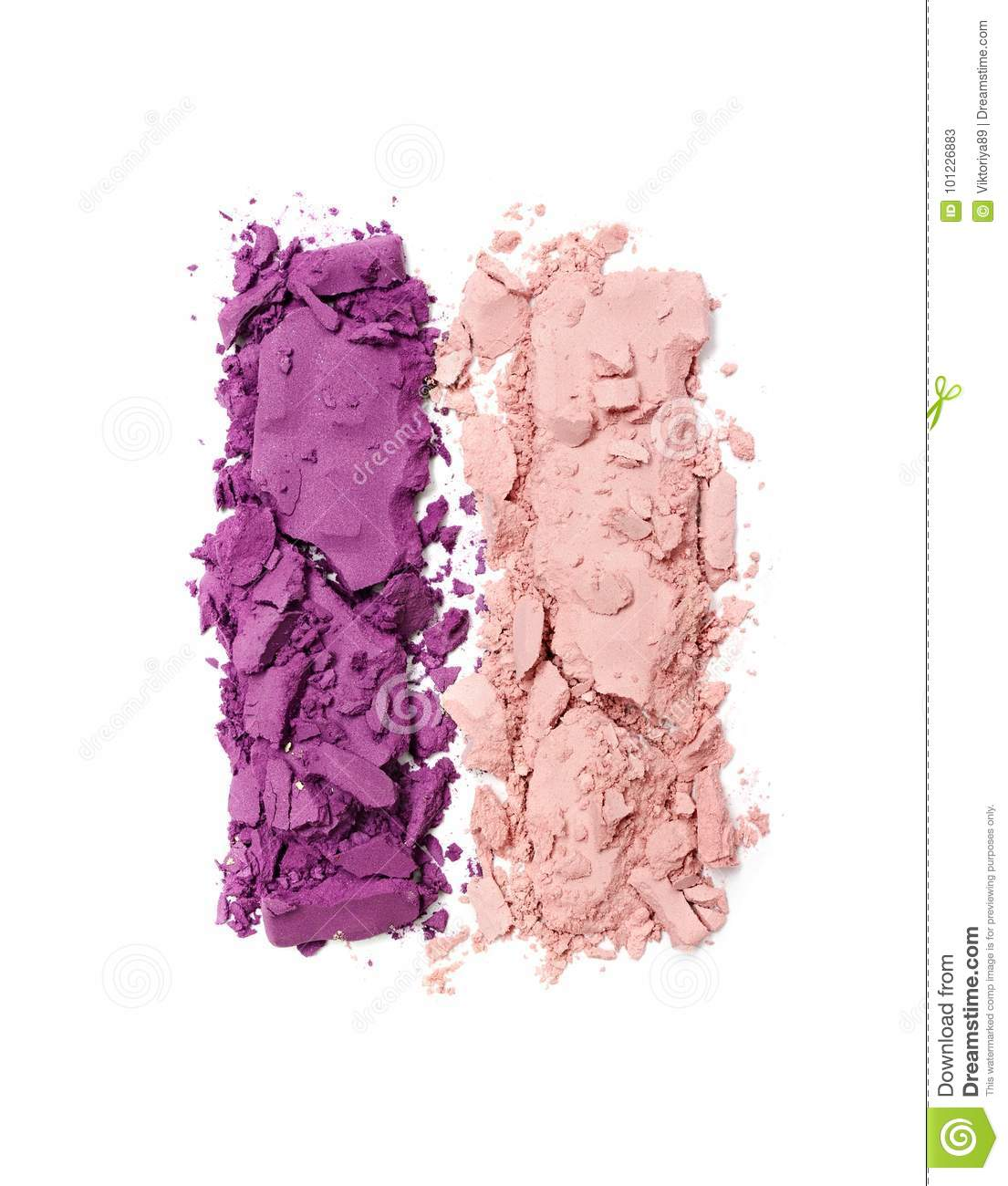 purple and beige crushed eyeshadow for makeup as sample of cosmetic