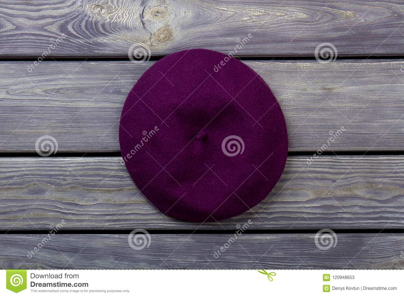9040974a81c Purple Beret Hat On Dark Wood Background. Stock Image - Image of ...