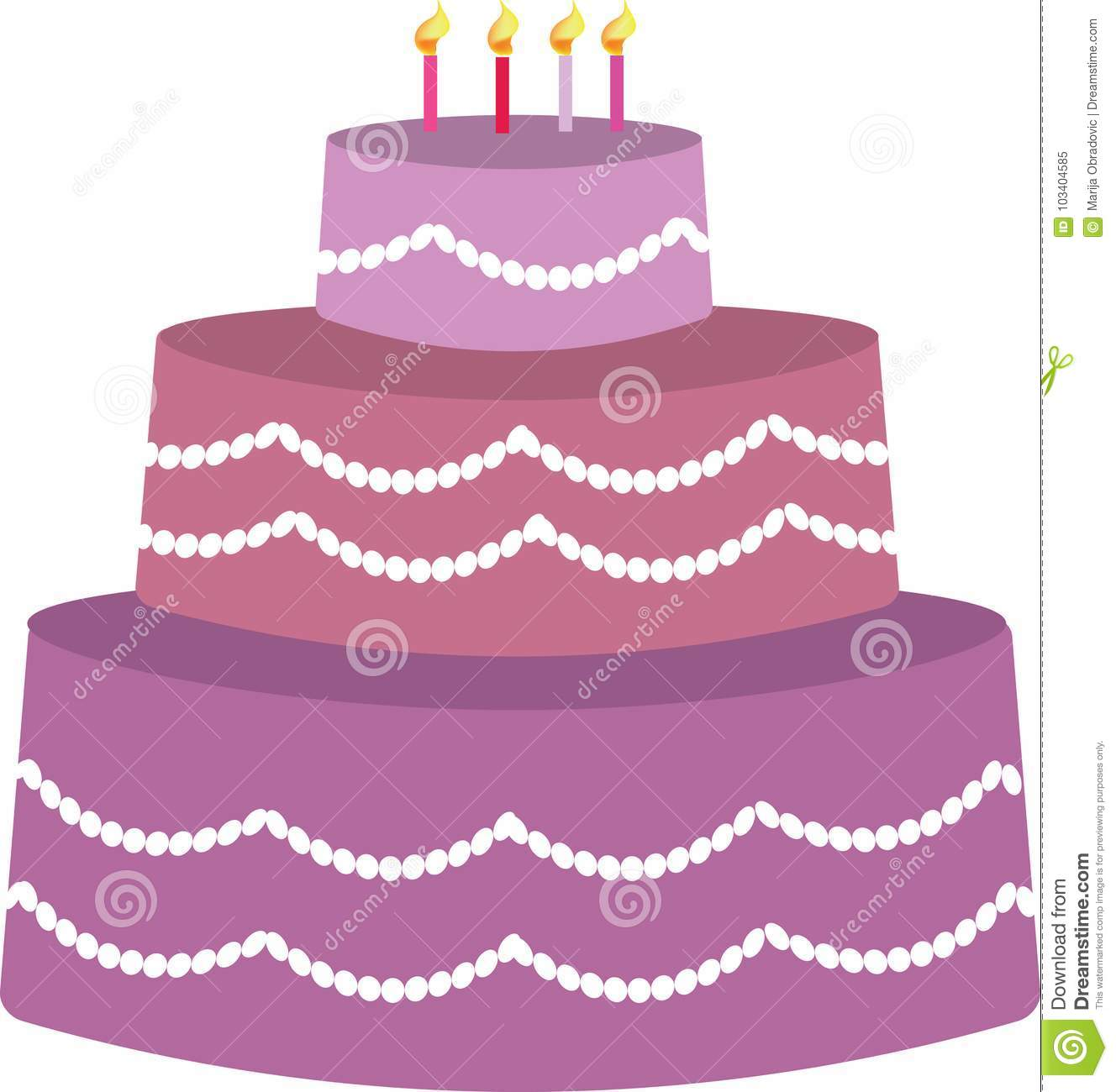 Purple Birthday Cake For Girls Vector