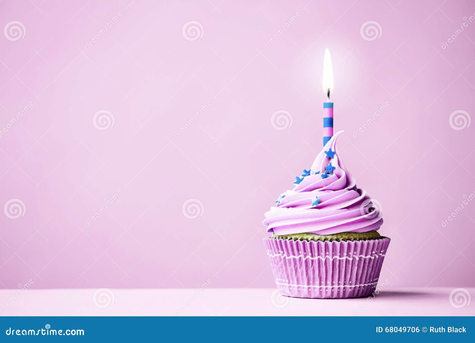 Purple Birthday Cupcake Stock Photo - Image: 68049706