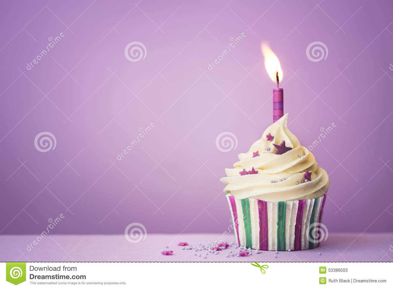 Purple Birthday Cupcake Stock Image Image Of Copy