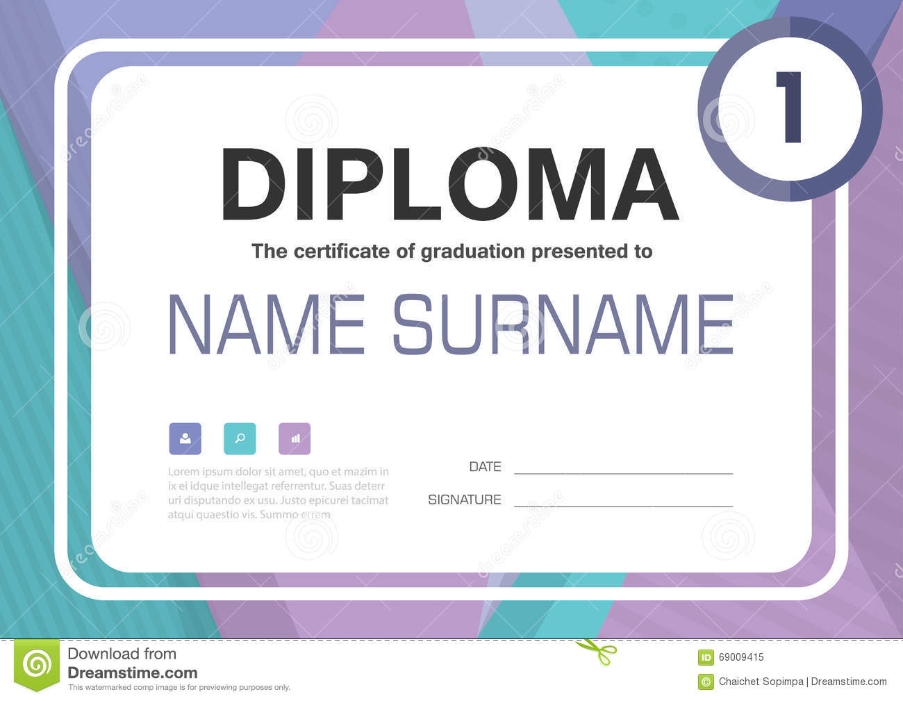 Purple blue green black a4 diploma certificate background template purple blue green black a4 diploma certificate background template layout design royalty free vector yadclub Images
