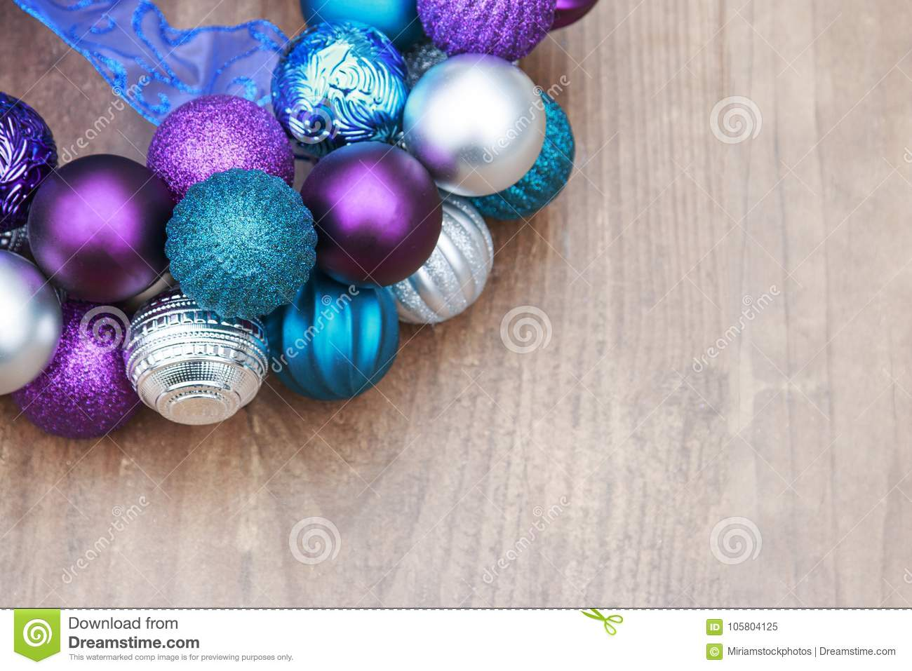 Purple Blue And Silver Christmas Ball Ornaments On A