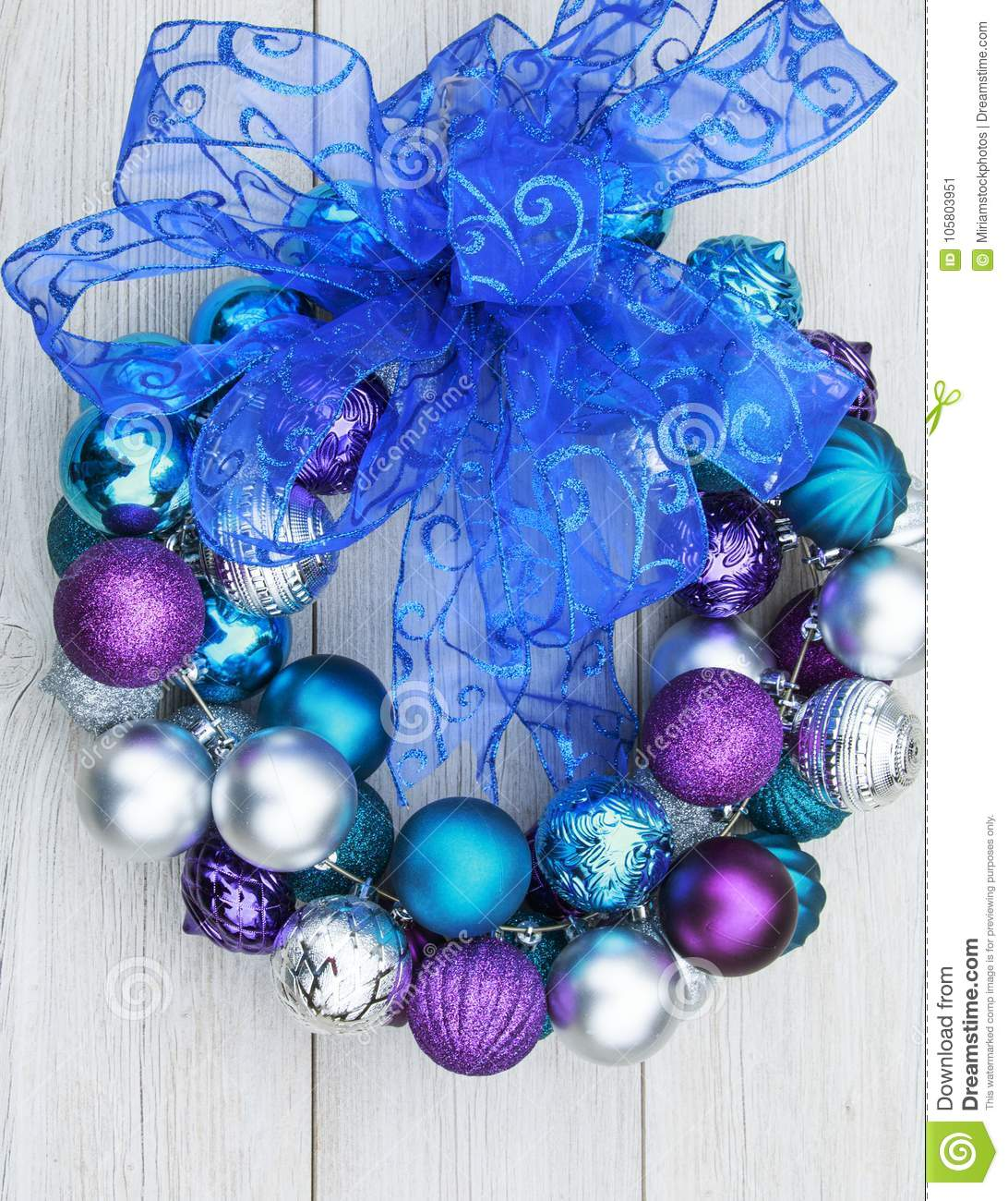 Purple, Blue, And Silver Christmas Ball Ornaments On A