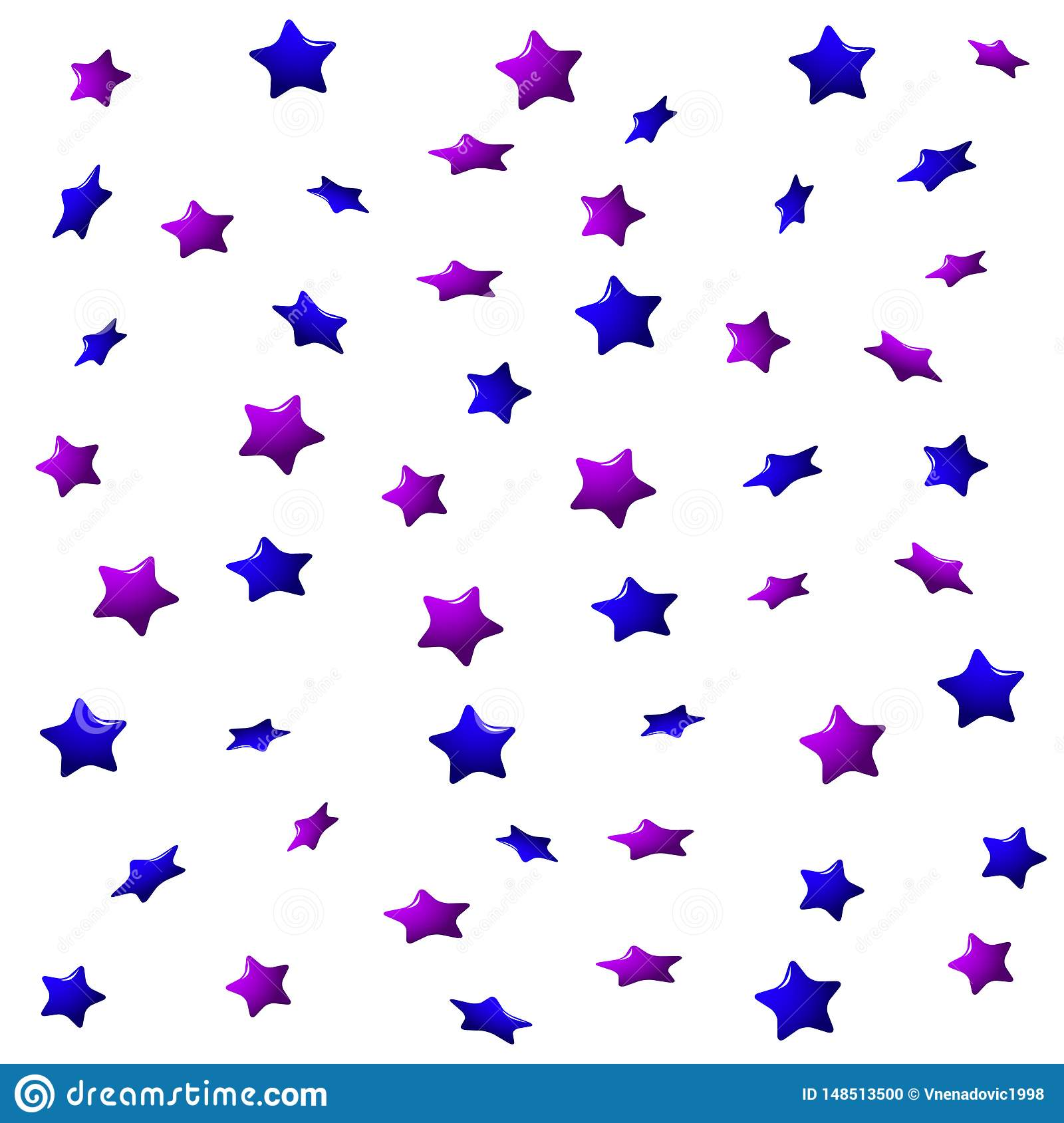 Purple and blue stars on a white background, seamless endless pattern.