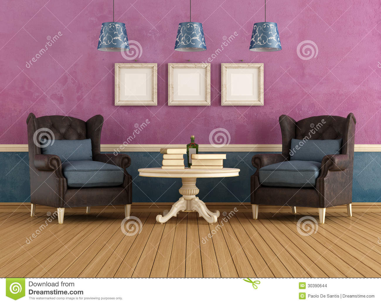 Purple and blue vintage living room stock images image for Sala de estar vintage