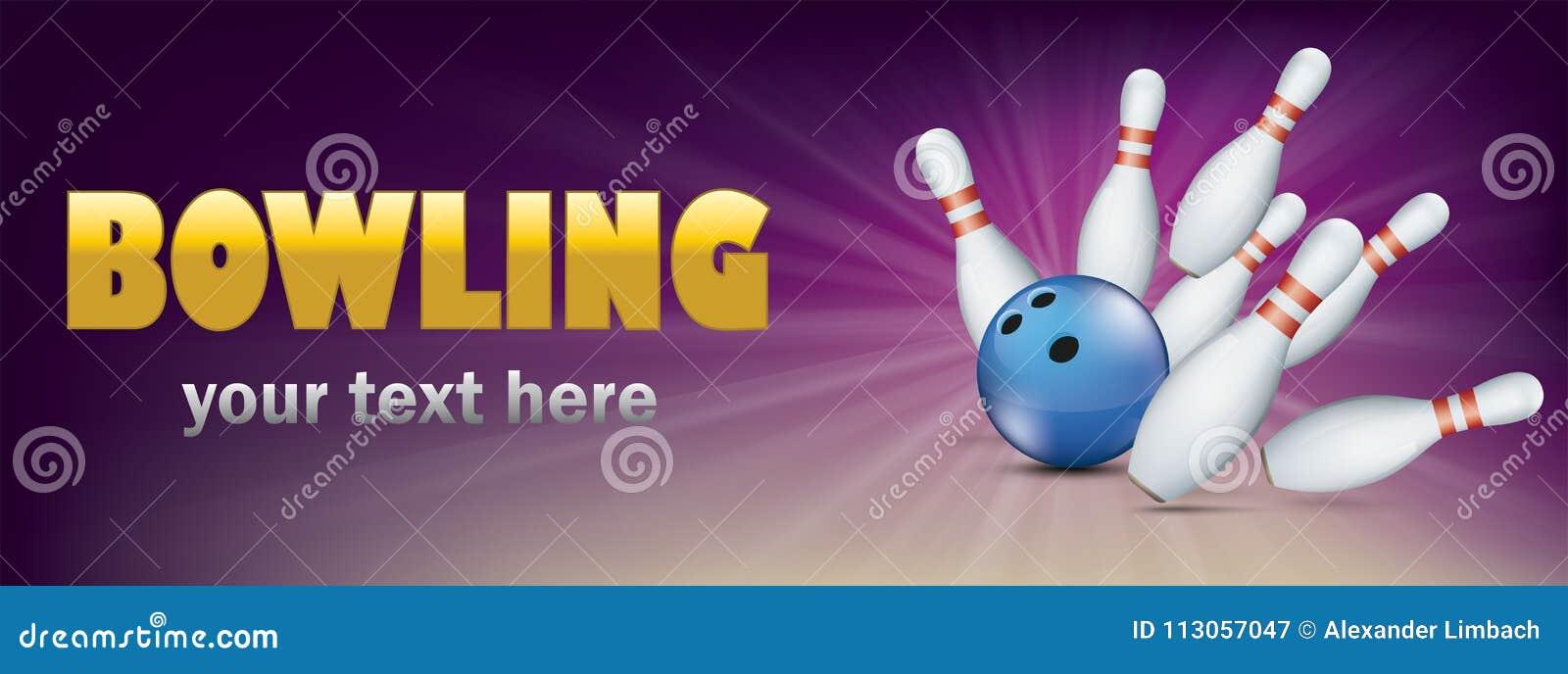 Golden Bowling Pin Deck Purple Banner Blue Ball Strike Pins