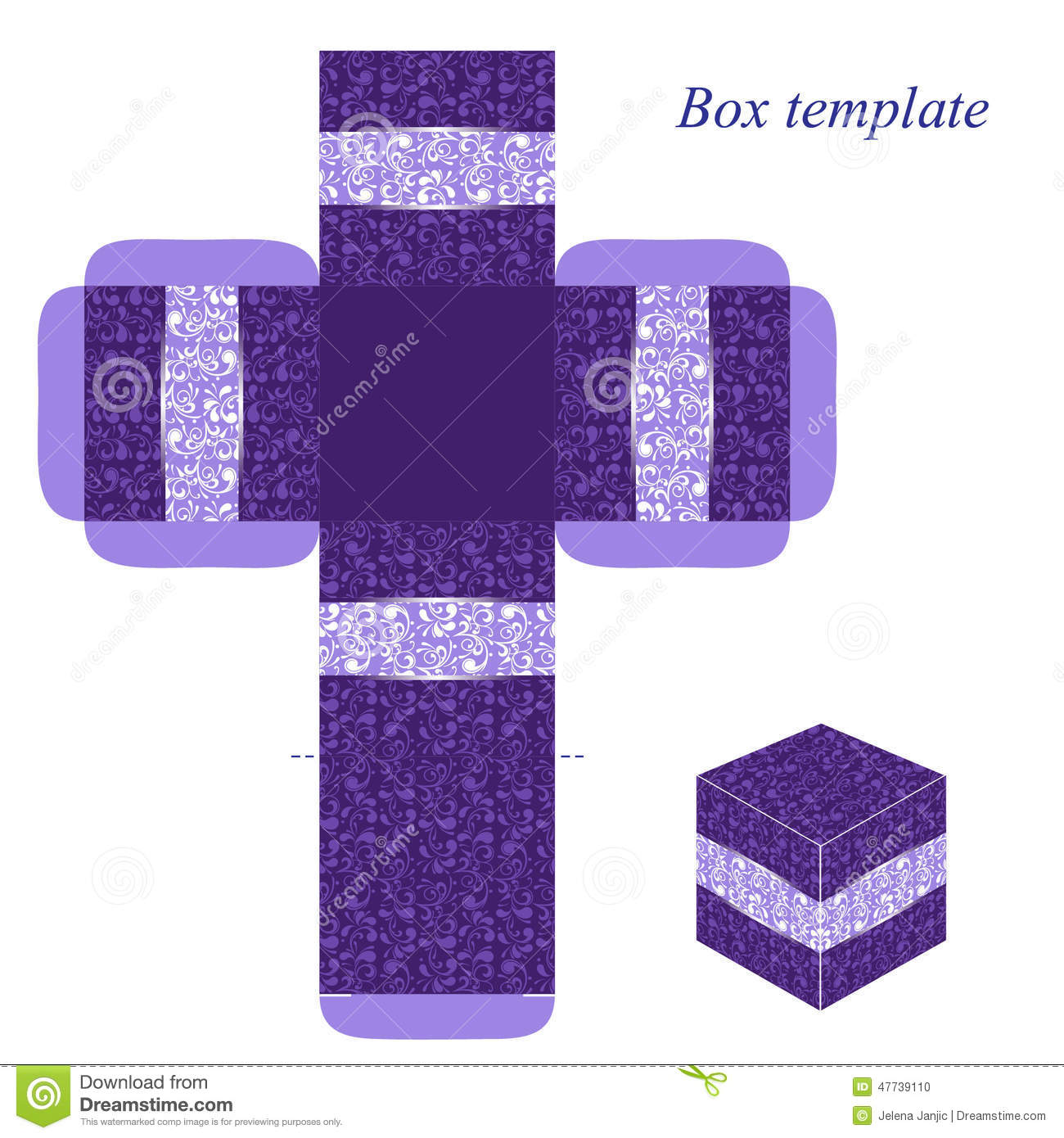 Purple Box Template With Floral Pattern Stock Vector