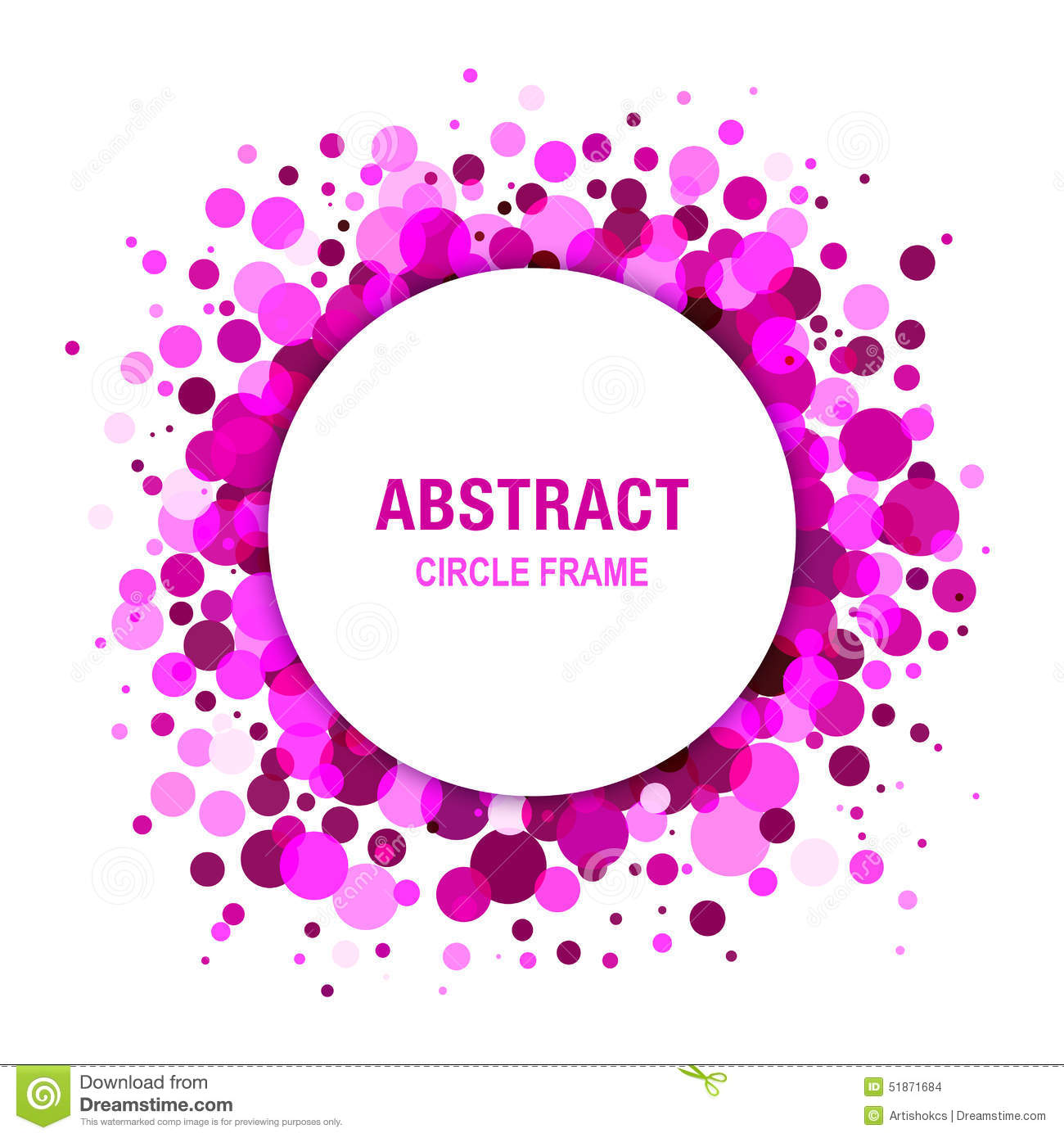 Purple Bright Abstract Circle Frame Design Stock Vector