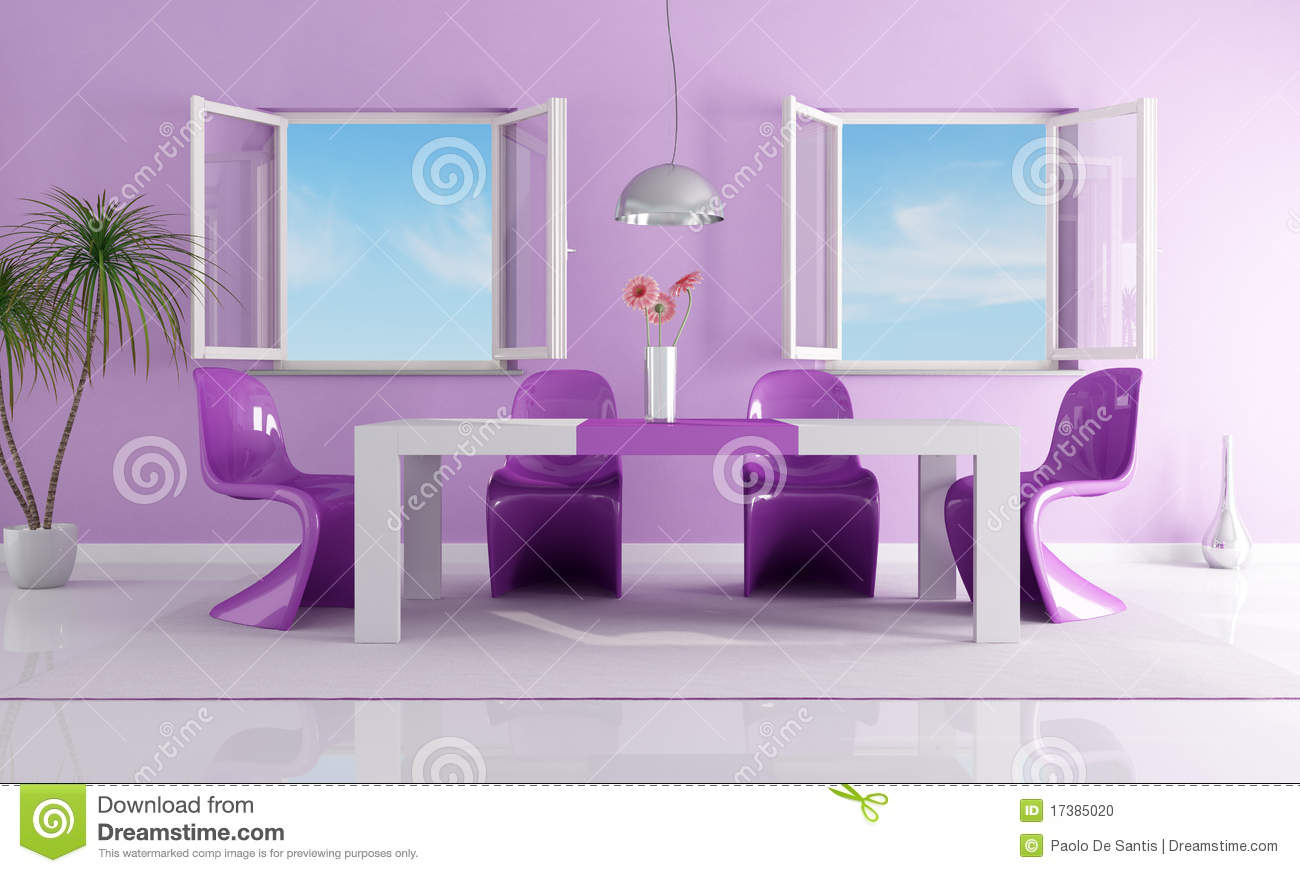 Purple dining room - Purple Bright Dining Room Stock Photo