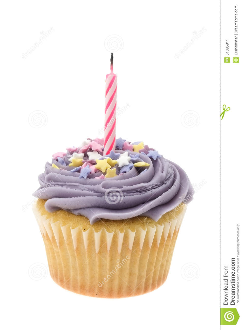 Purple Buttercream Iced Cupcake With A Single Birthday ...