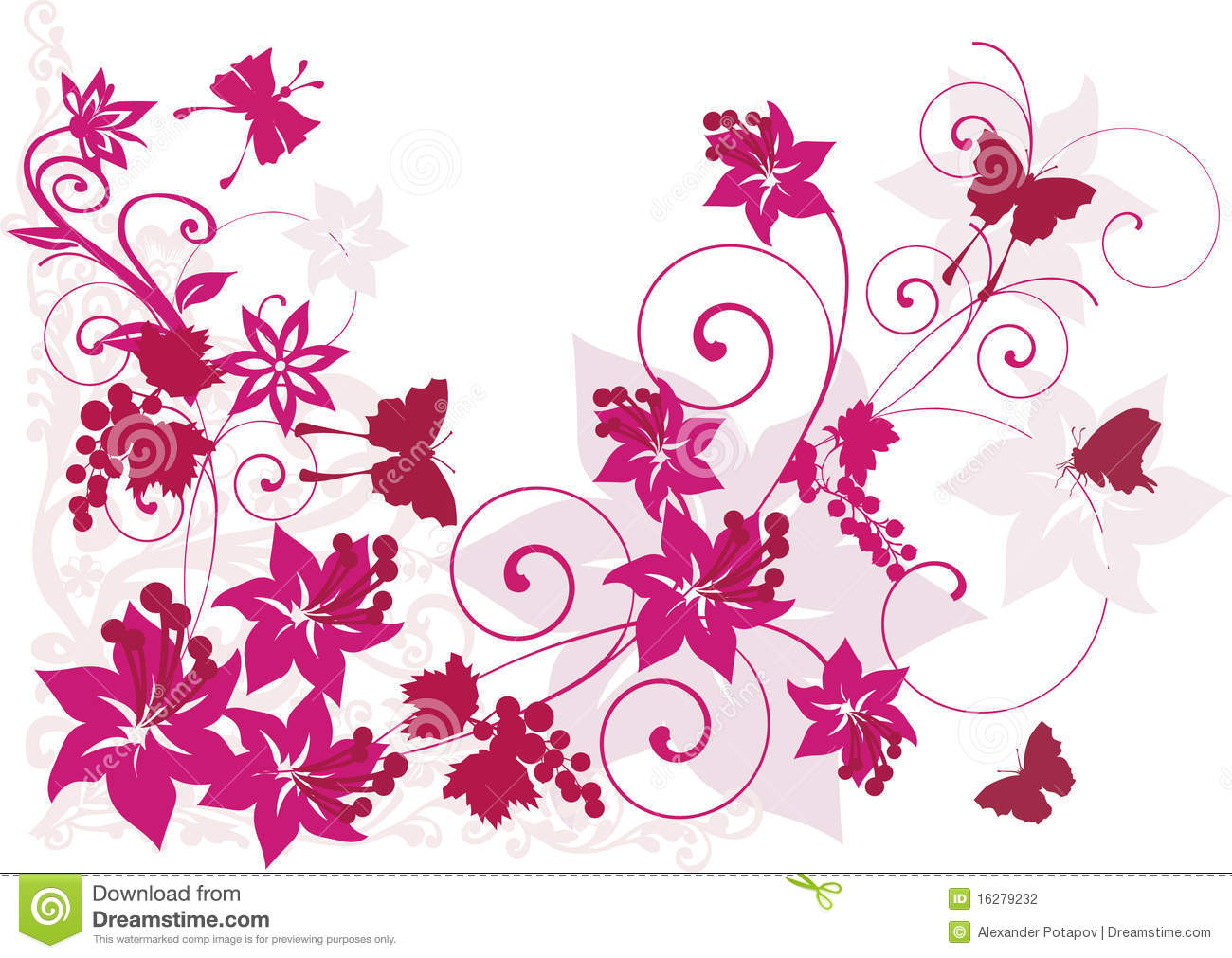 wedding car decoration of flowers with roses and butterflies stock