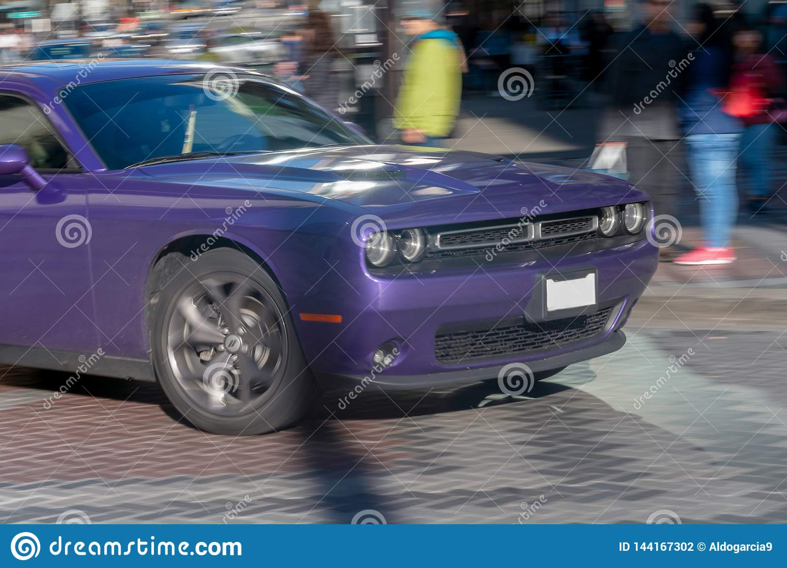 Purple Challenger in movement