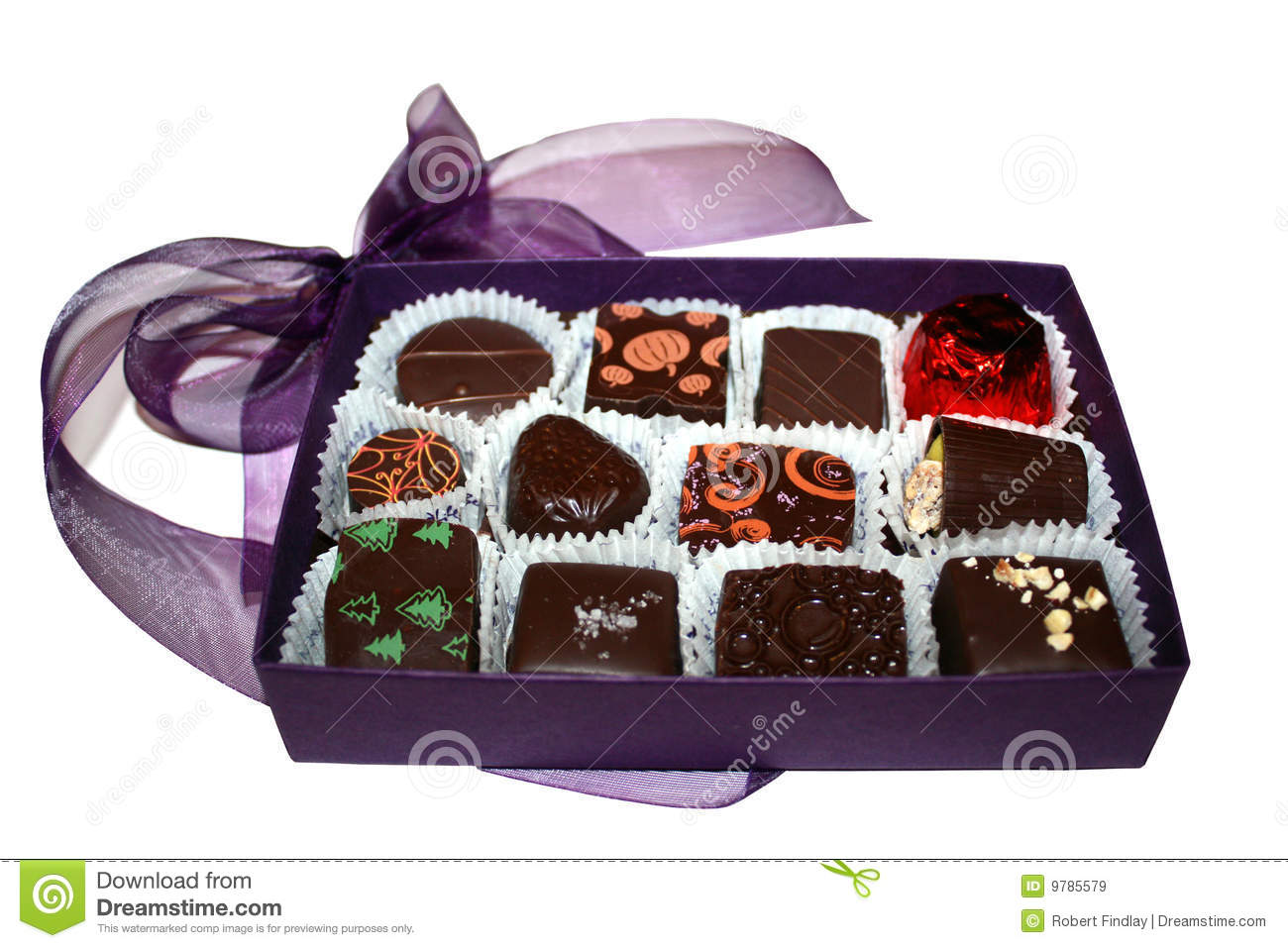 Purple Chocolate Box Stock Image Image Of Treat Squares 9785579