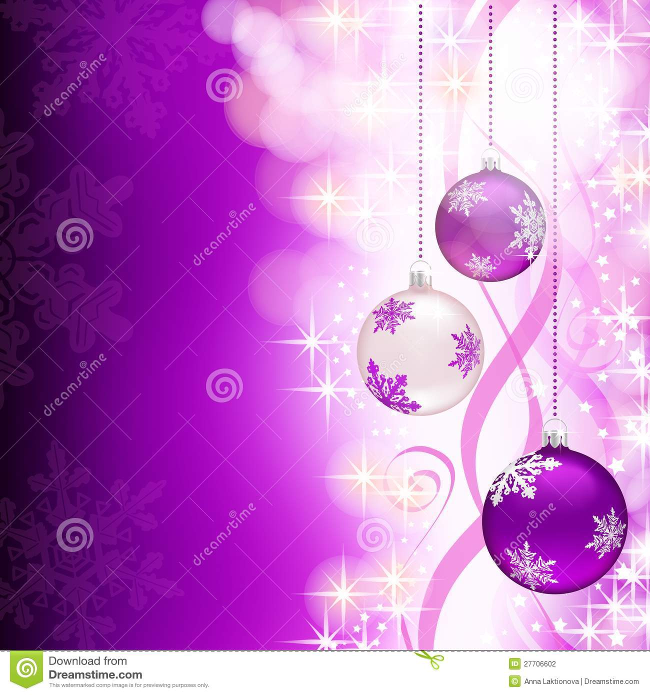 Purple christmas background with decorations stock vector for Back ground decoration