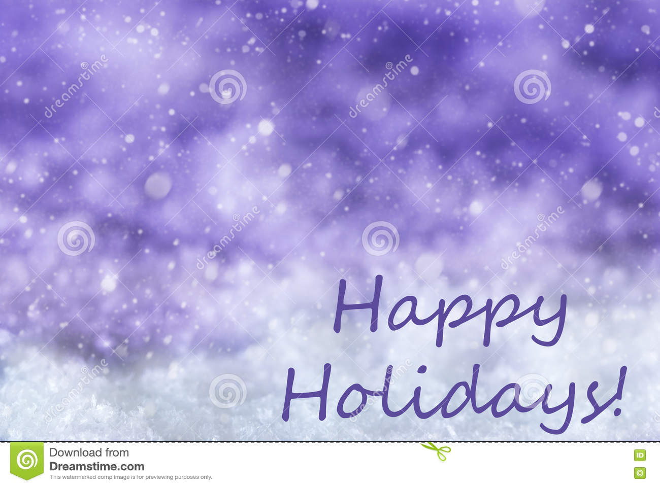 Purple Christmas Background Snow Snowflakes Text Happy Holidays