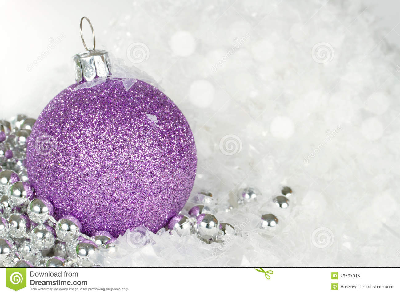 Purple Christmas Bauble With Silver Beads Stock Image