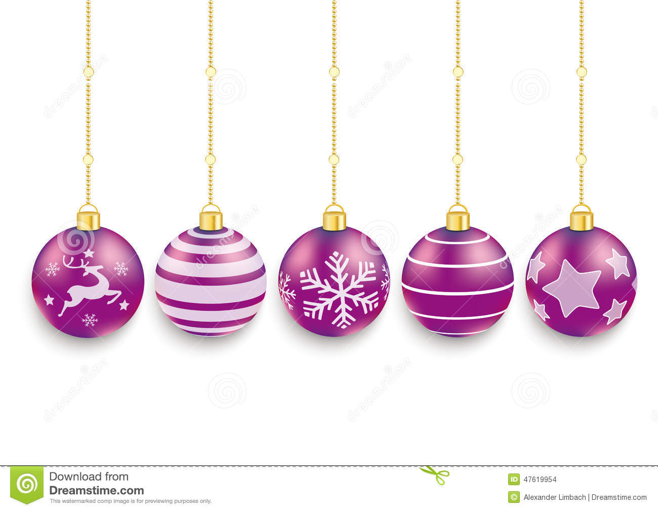 5 purple christmas baubles white background stock vector for White christmas baubles