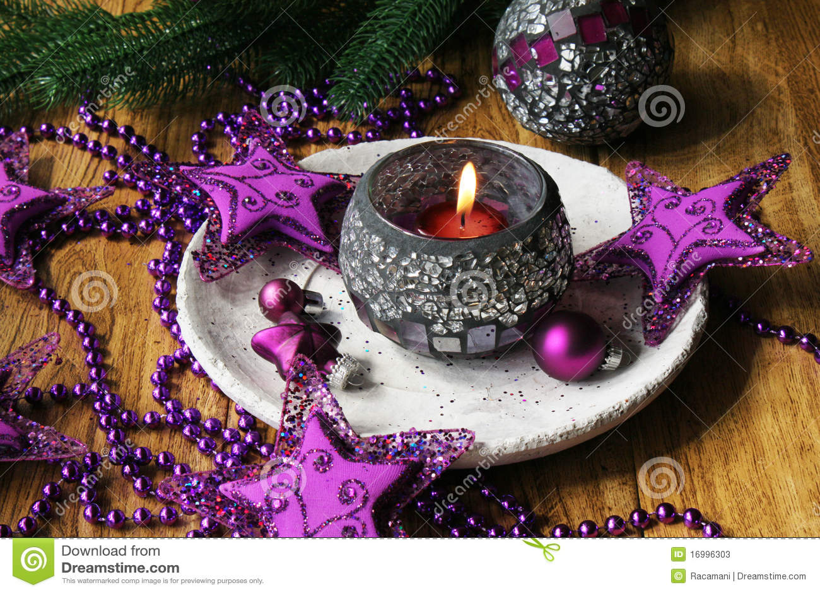 Purple table decorations for christmas - Purple Christmas Decorations Stock Photos Image 16996303