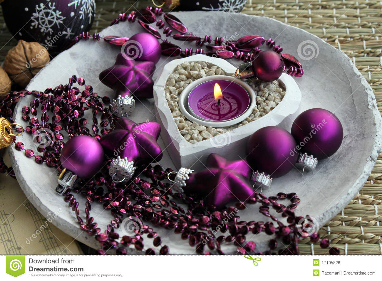 purple christmas decorations stock photo image of. Black Bedroom Furniture Sets. Home Design Ideas