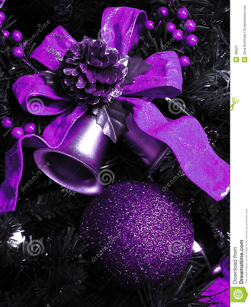 Christmas Decorations In Purple: Purple Christmas Decorations Stock Photo