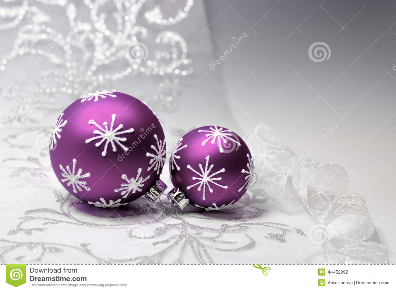 purple christmas decorations with silver ornament