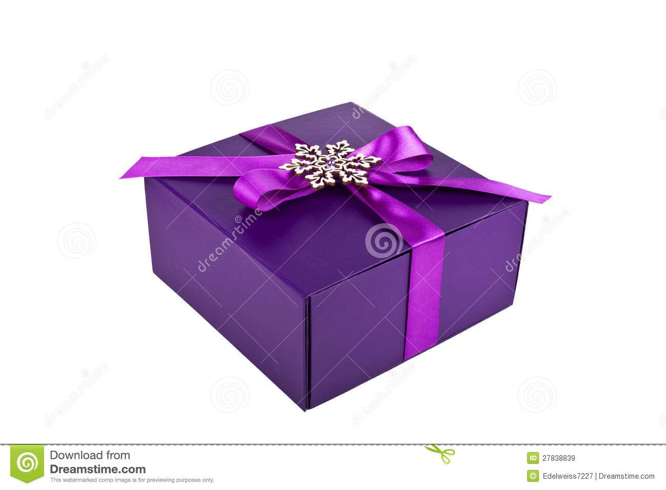 Purple Christmas Gift Box Isolated Royalty Free Stock