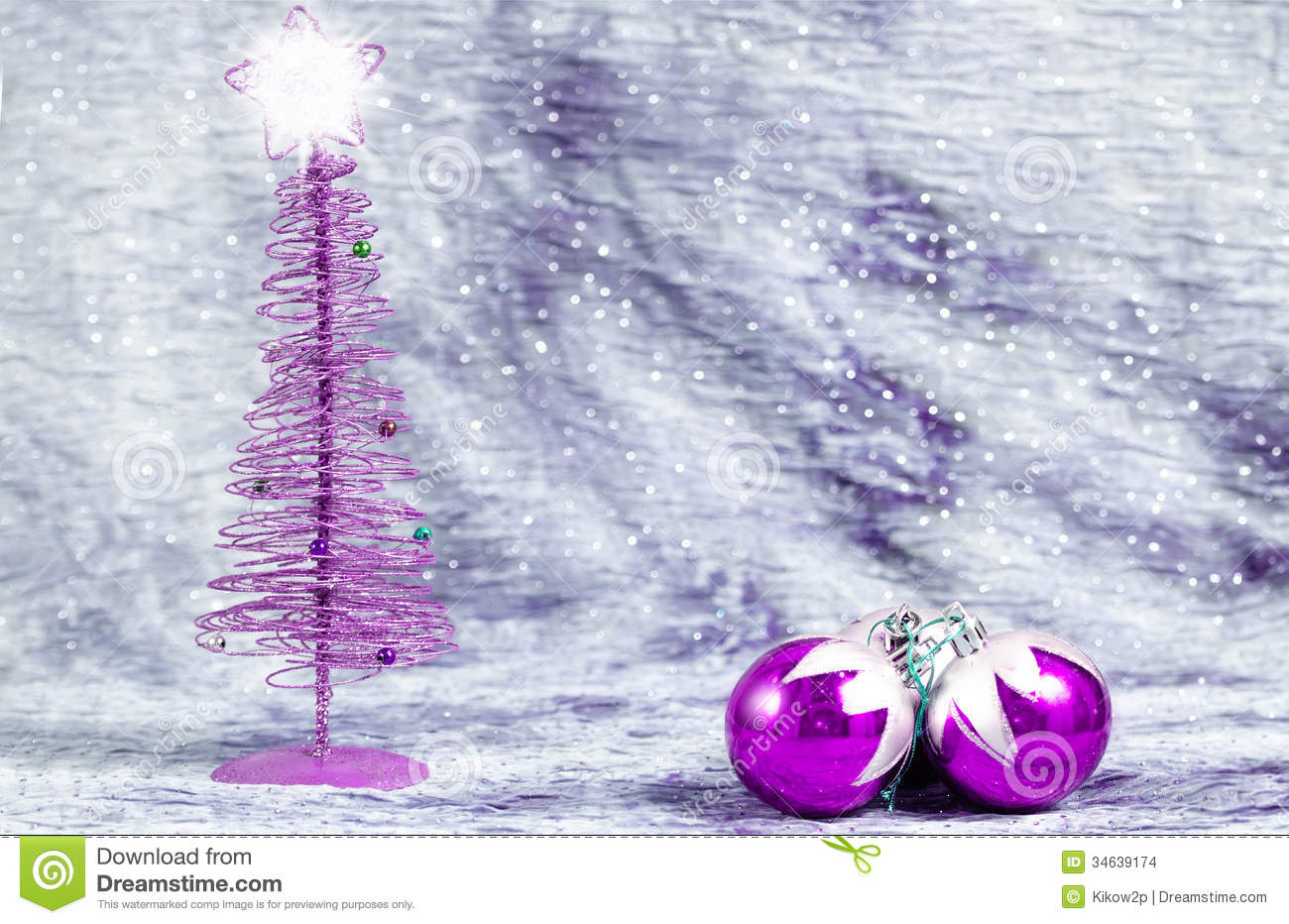 Lavender christmas ornaments - Purple Christmas Ornaments With Silver Background