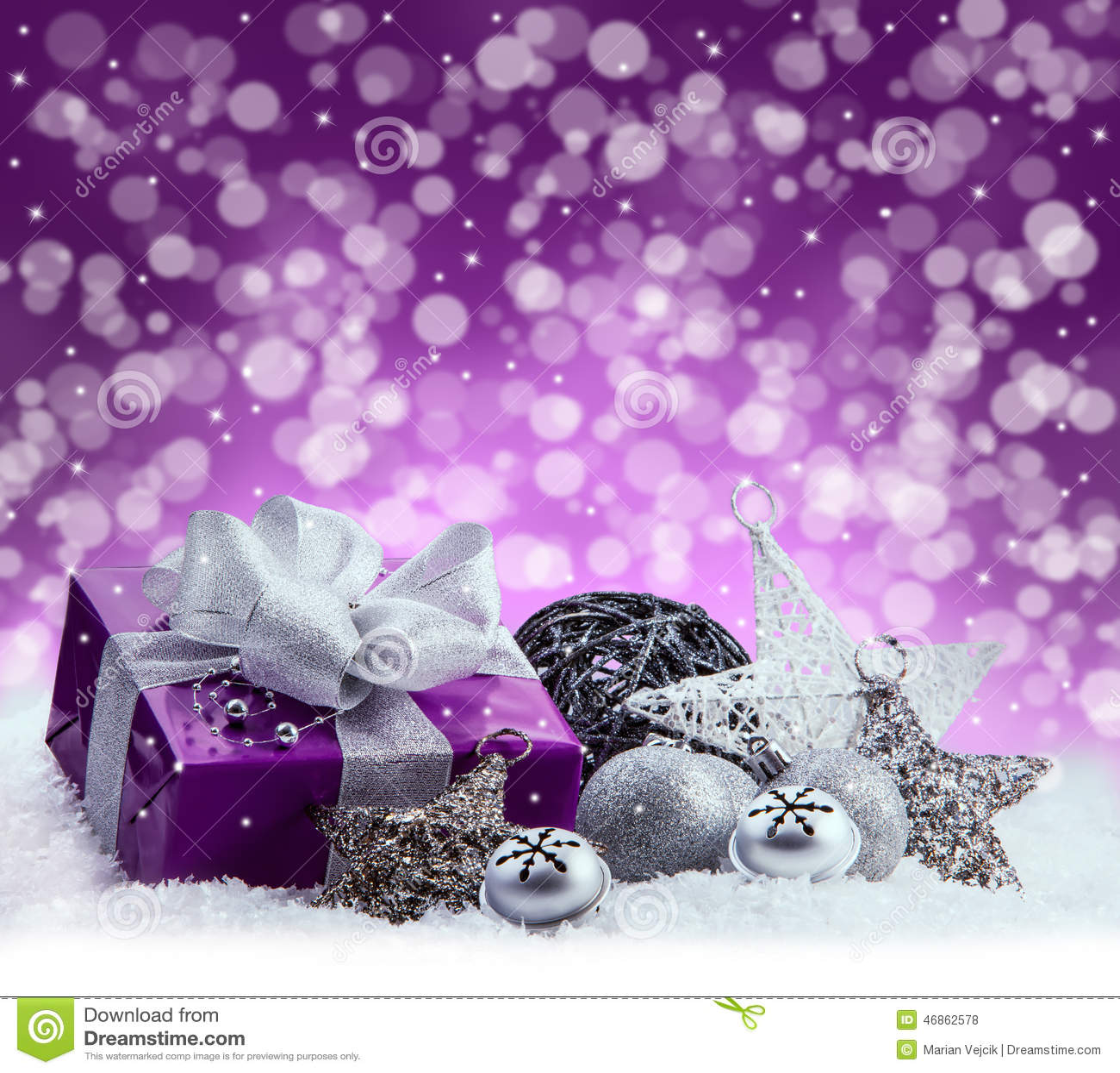 Christmas Purple.Purple Christmas Package Gift Of A Silver Ribbon Jingle