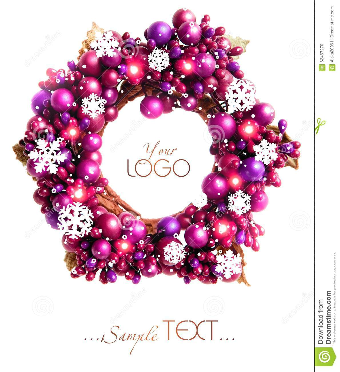 Purple Christmas Wreath With Snowflakes Isolated Stock Photo Image