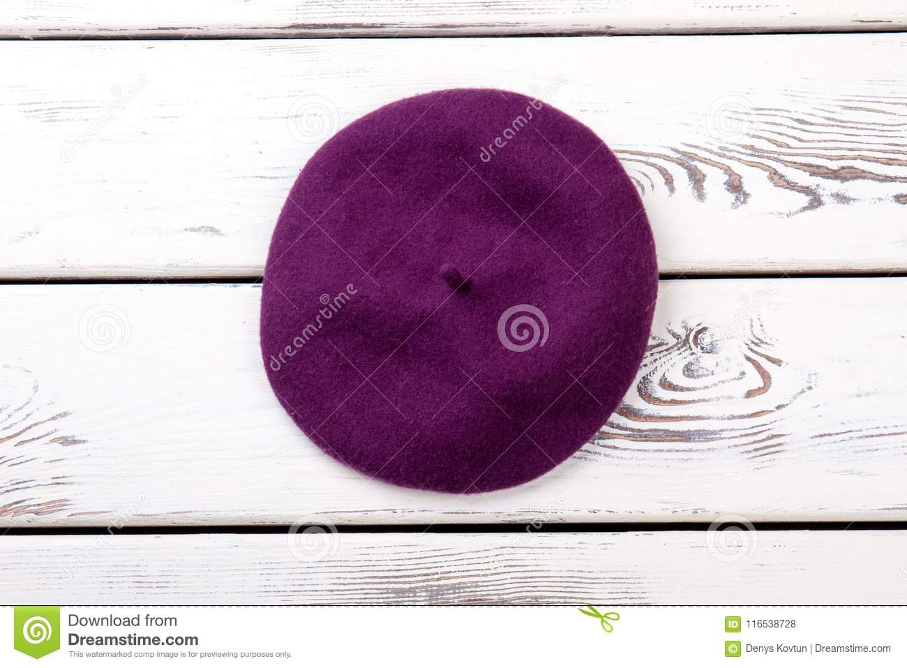 eb48a0e665d Purple Color French Beret For Women. Stock Photo - Image of ...
