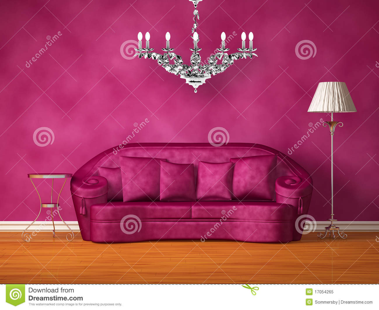 Purple couch with table, lamp and chandelier