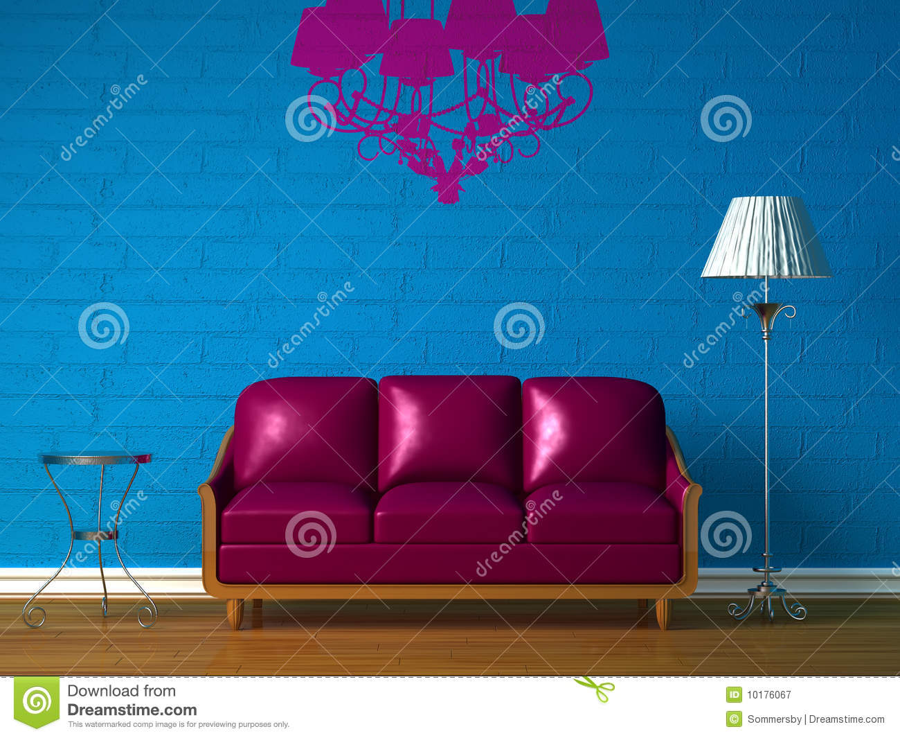 Purple couch, table and standard lamp