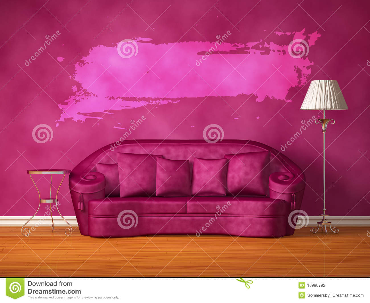Purple couch with table, standard lamp and hole
