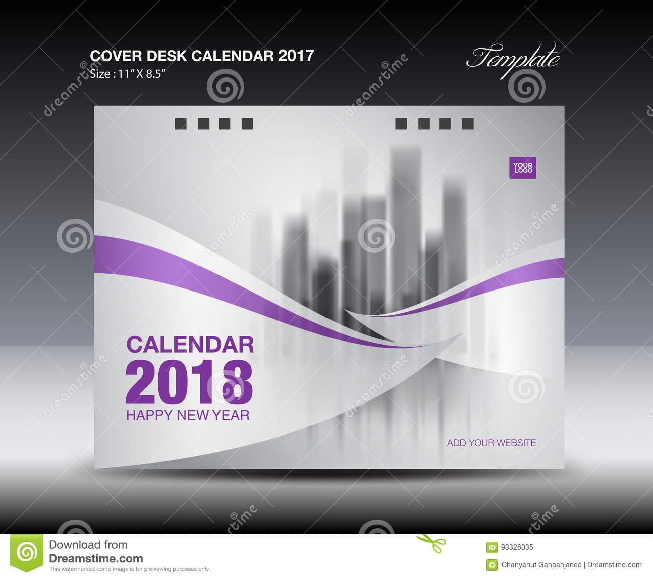 Calendar Cover Page Template : Purple cover desk calendar design flyer template