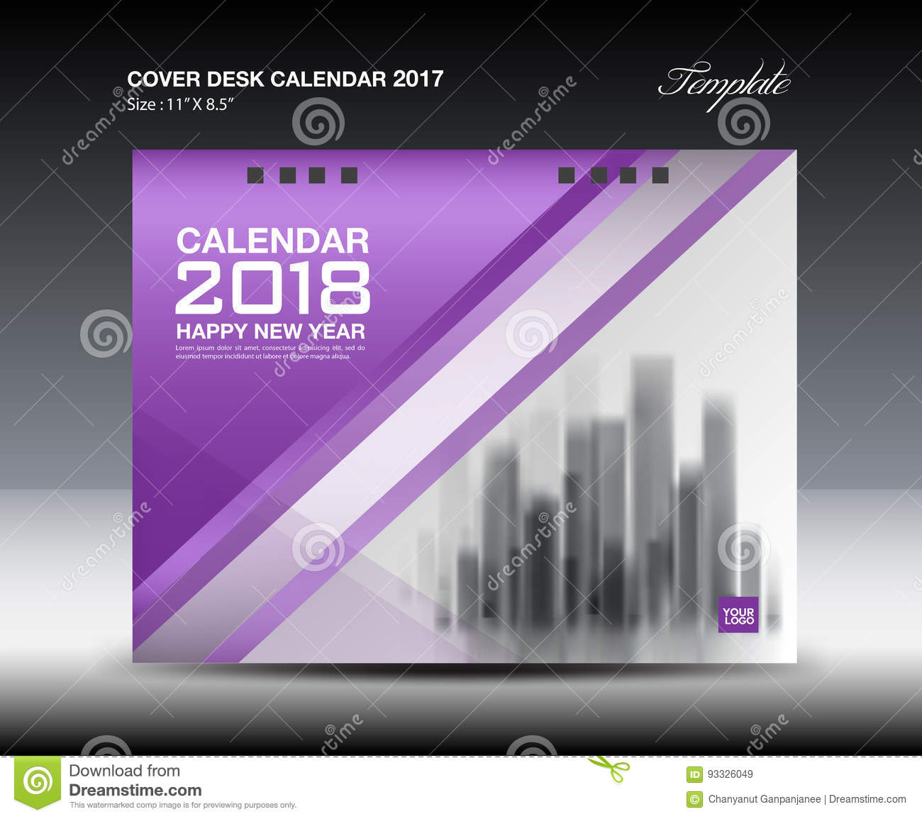Calendar Cover 2018 : Purple cover desk calendar design business brochure