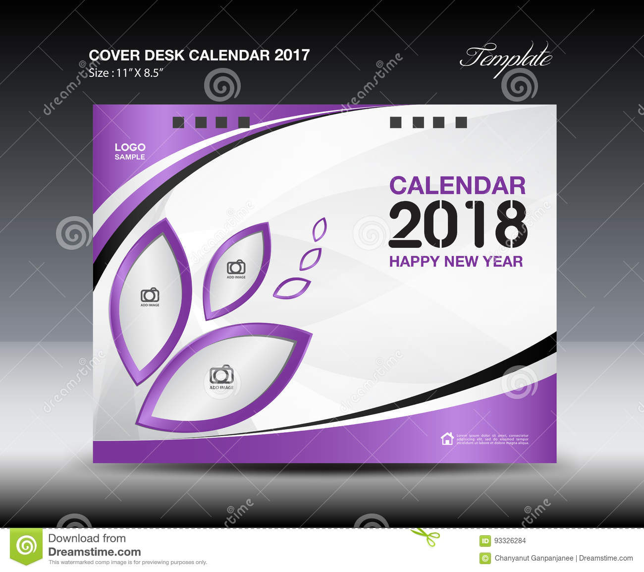 purple cover desk calendar 2018 design  flyer template