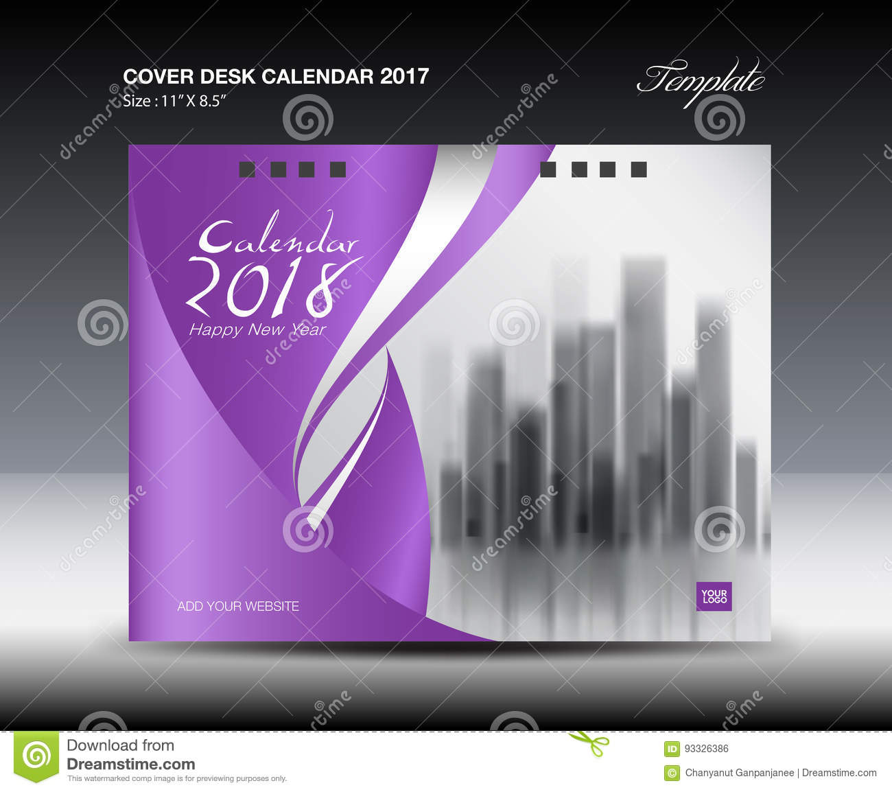 Calendar Cover Design 2014 : Purple cover desk calendar design flyer template