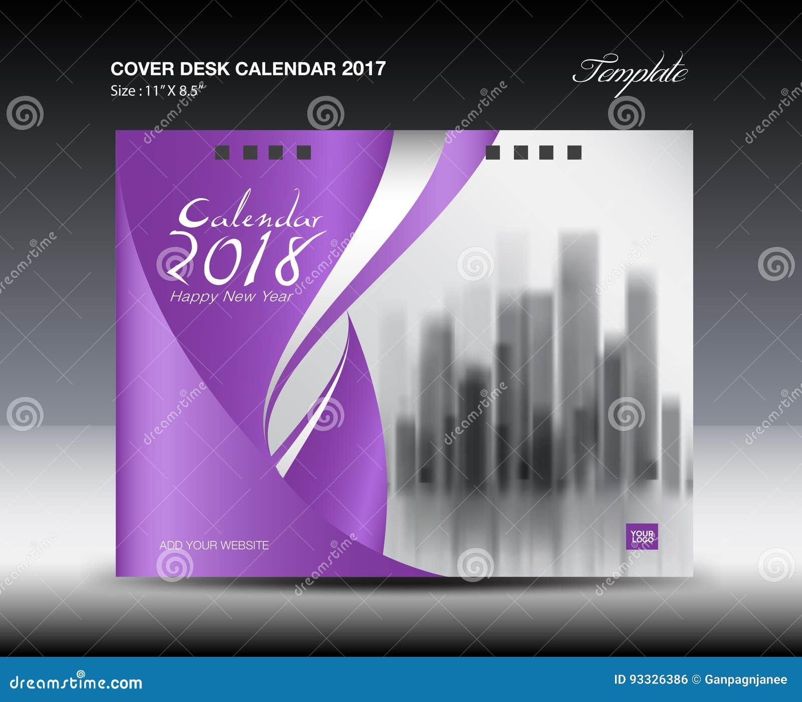 Cover Calendar Design Vector : Purple cover desk calendar design flyer template