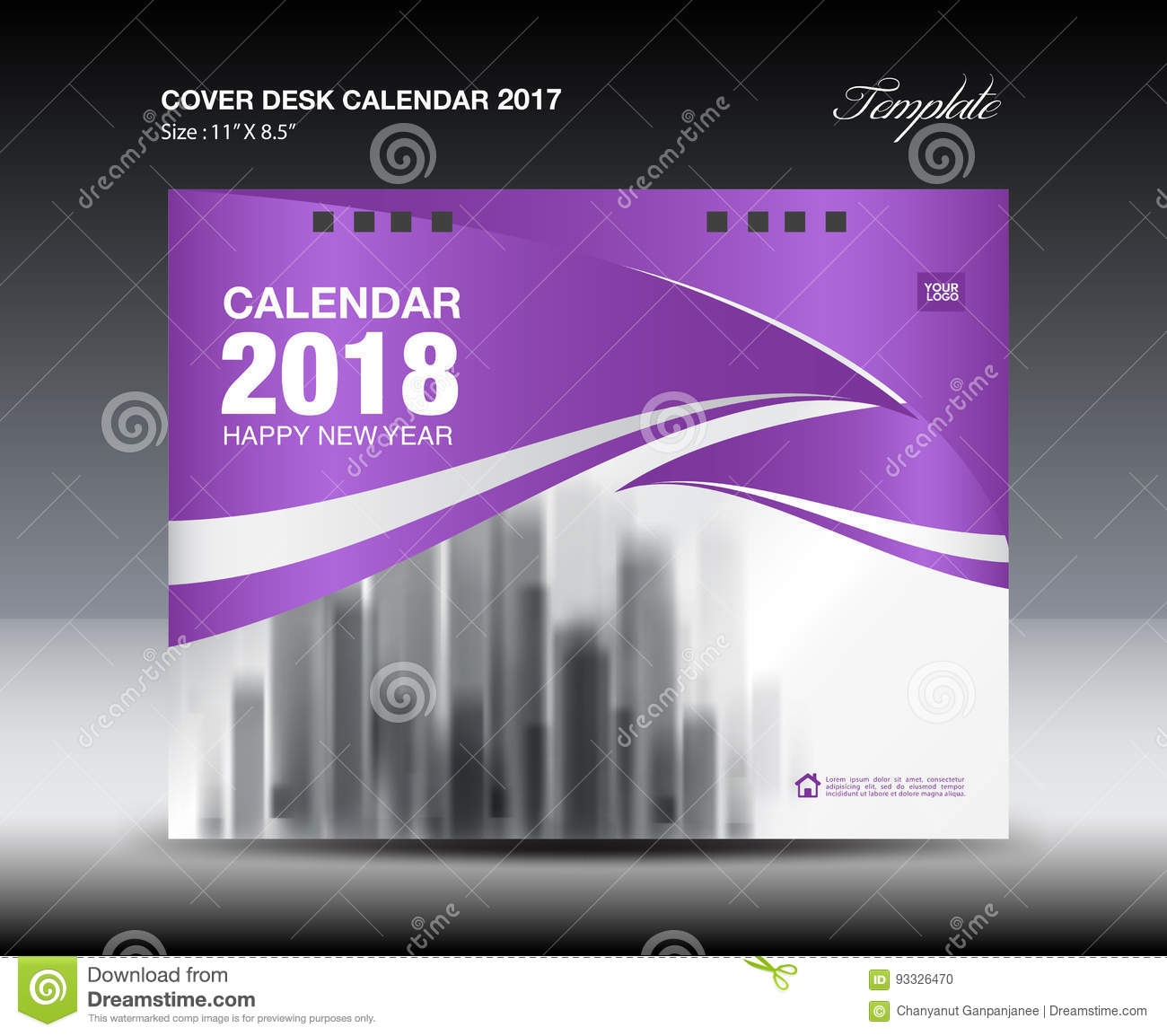 Calendar Cover 2018 : Purple cover desk calendar design flyer template