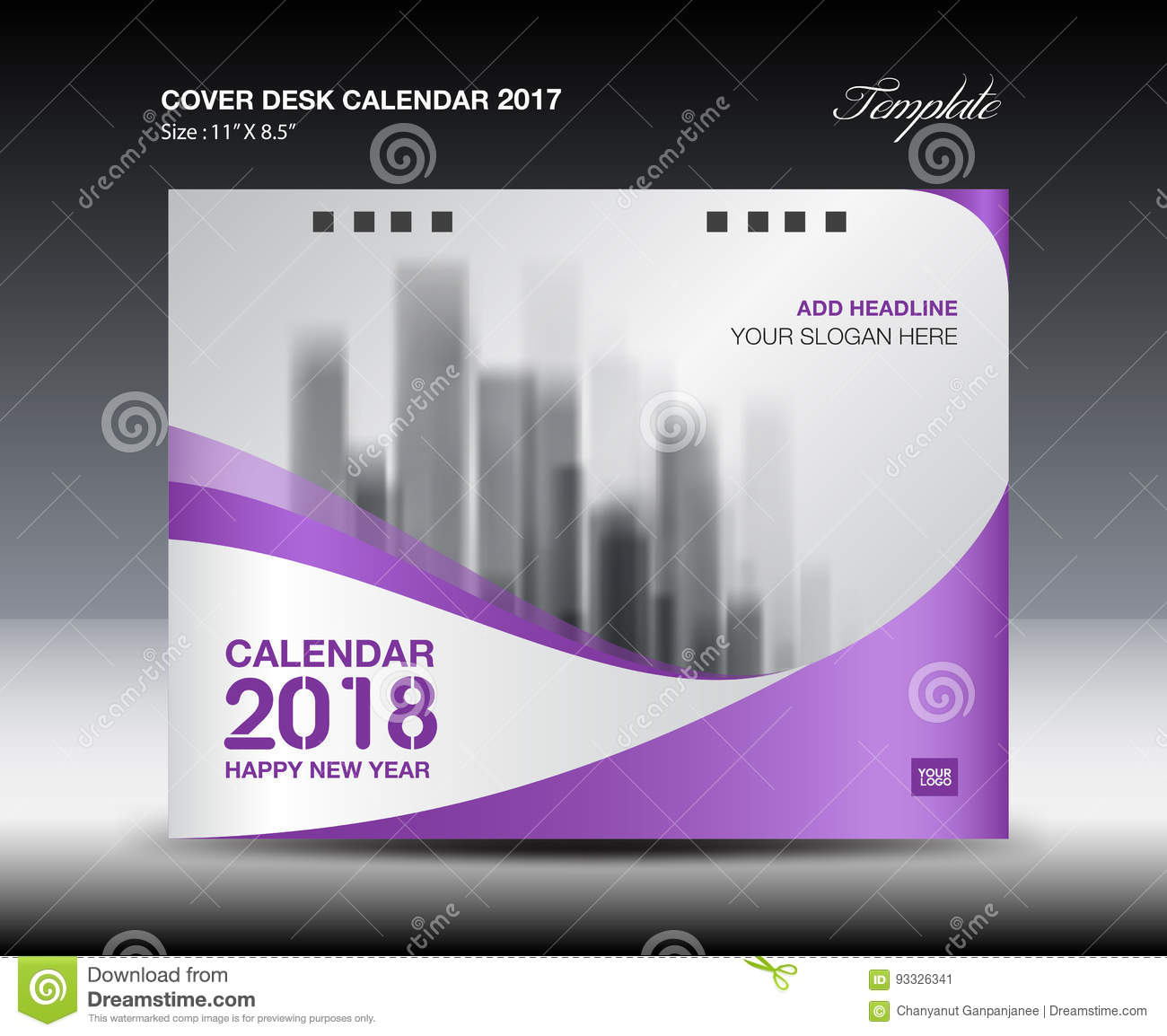 Calendar Cover : Purple cover desk calendar design flyer template