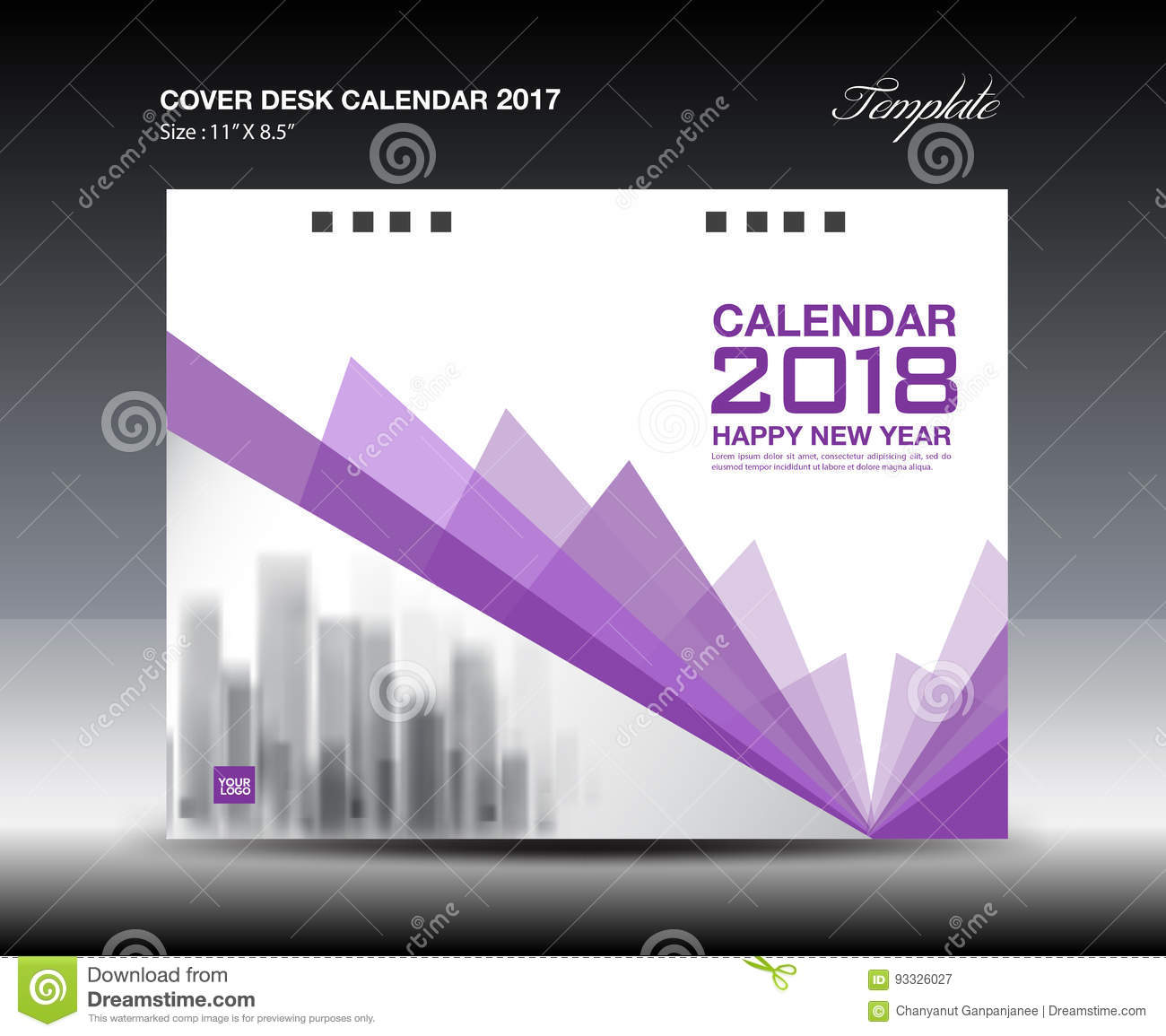 Calendar Cover Page Design : Purple cover desk calendar design polygon background