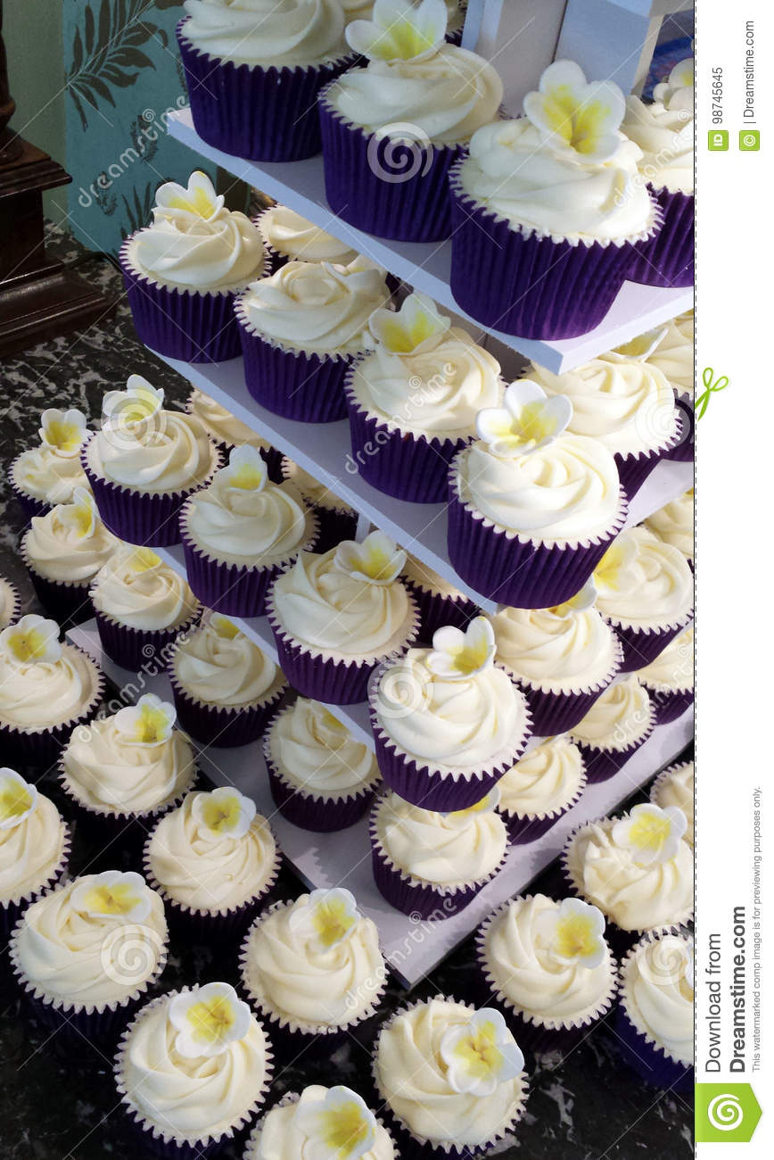 Wedding Cupcakes With Frangipani Decoration Stock Image Image Of Cupcakes Wedding 98745645