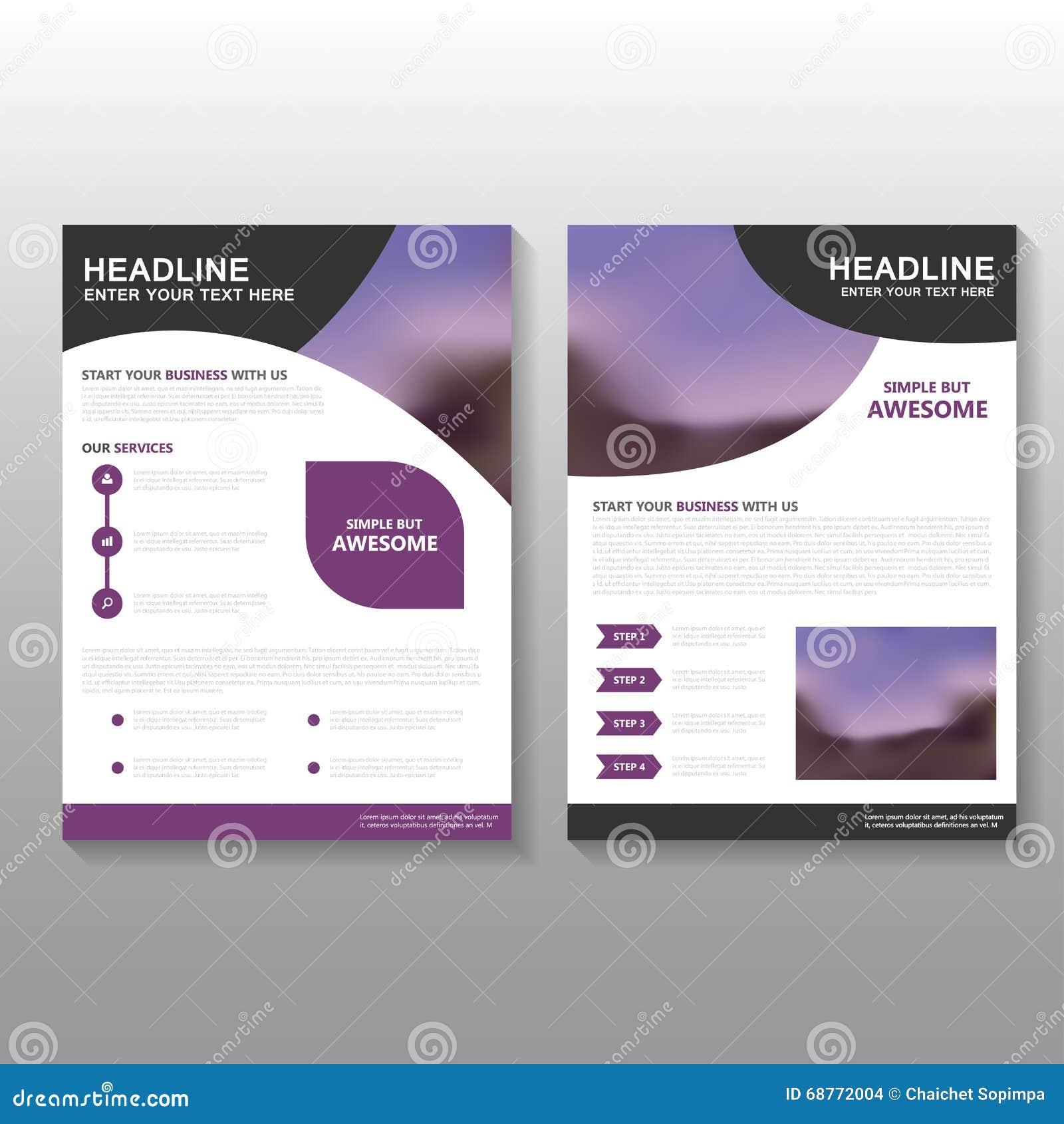 Purple Curve Vector Leaflet Brochure Flyer Business Proposal