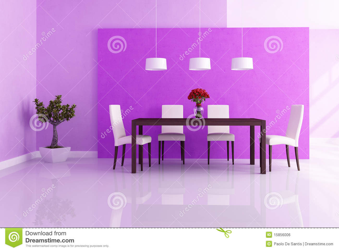 Purple dining room - Dining Modern Purple Rendering Room