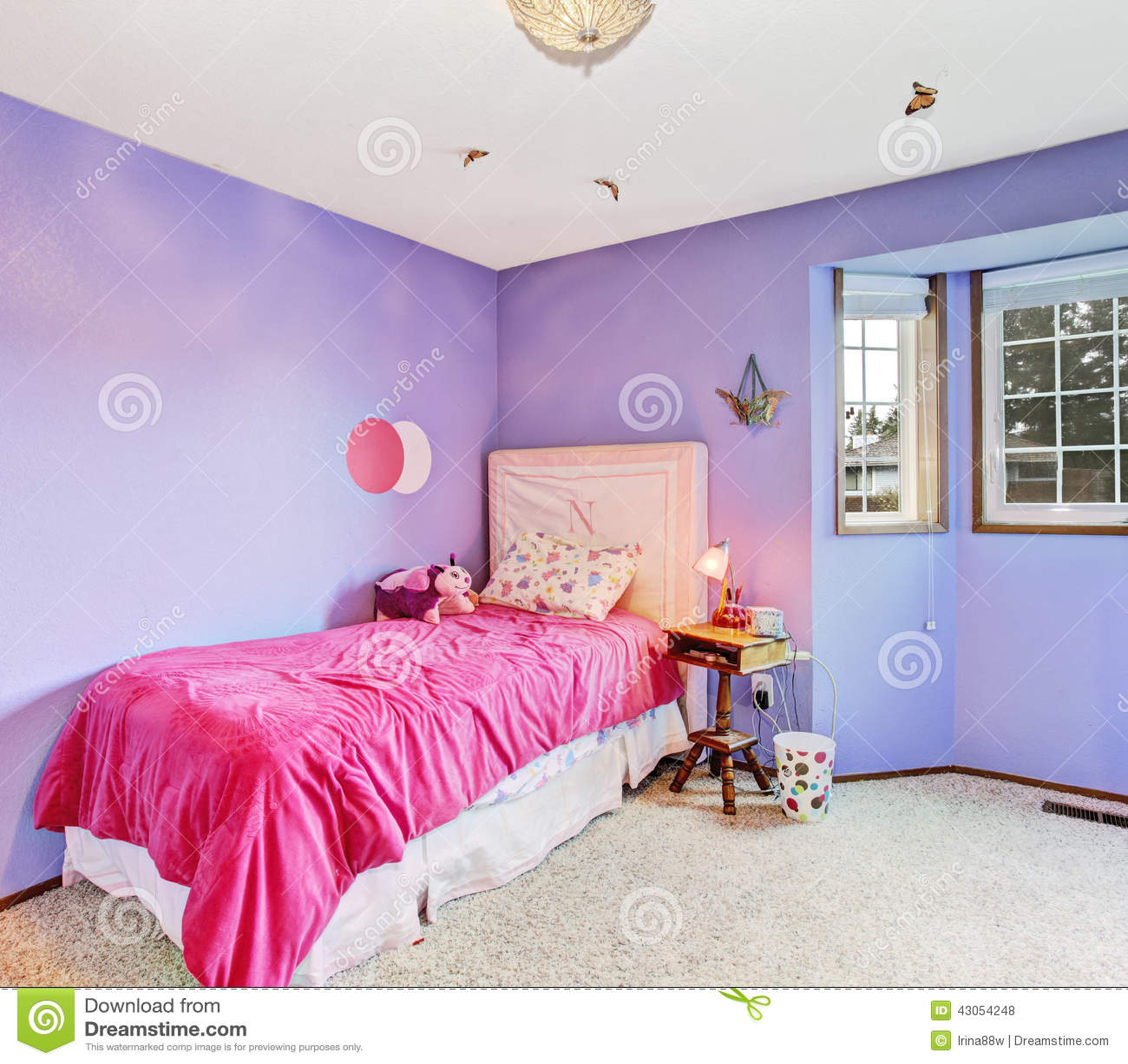 Purple Dreamy Girl Bedroom Stock Photo Image 43054248