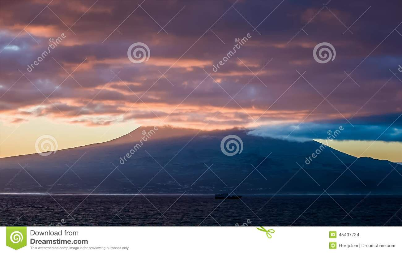 Purple Early Light At Sunrise Over Pico Volcano Stock Footage