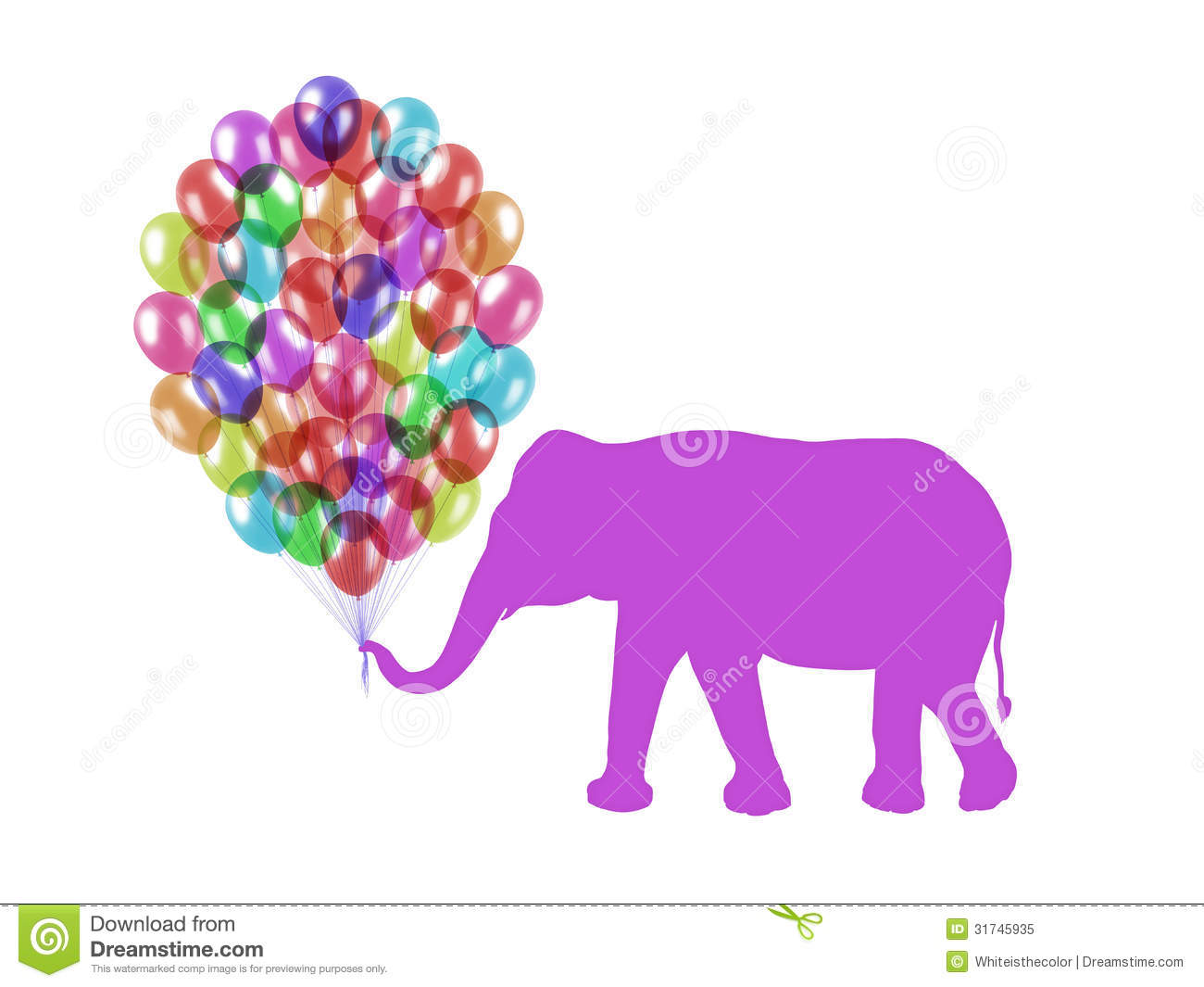 Purple Elephant Keeping Colorful Balloons With His Trunk
